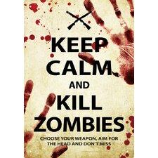 Keep Calm Kill Zombies Tin Sign Textual Art
