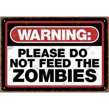 Zombie Warning Tin Sign Textual Art