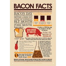 Bacon Facts Tin Sign Graphic Art
