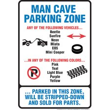 Man Cave Parking Zone Tin Sign Graphic Art