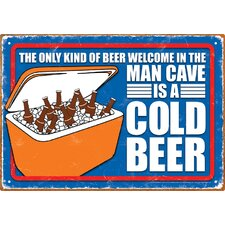 Man Cave Cold Beer Tin Sign Vintage Advertisement