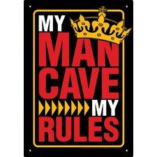 Man Cave Rules Tin Sign Textual Art