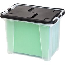 Letter Size Portable File Box with Wing-Lid and Handles (Set of 4)
