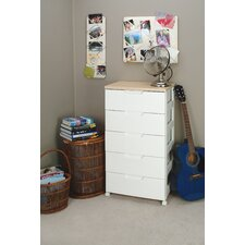 Premium Drawer Storage Series High Grade 5 Drawer Chest in White with Natural Wood Top