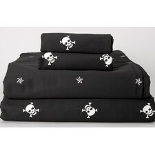Sin in Linen 230 Thread Count Black Skullstar Sheet Set