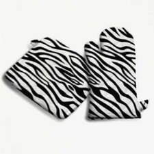 Zebra Oven Mitt in Black