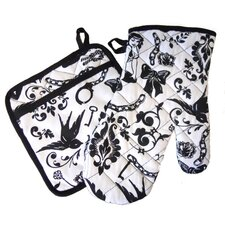 <strong>Sin In Linen</strong> Ravens Dream Oven Mitt / Pot Holder Set in Black and White