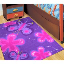 Purple Butterfly Kids Rug