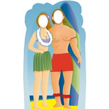 <strong>Advanced Graphics</strong> Surfer Couple Holding Surfboard Stand-In Life-Size Cardboard Stand-Up