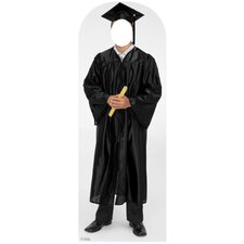 Male Graduate Cap and Gown Stand In Cardboard Stand-Up