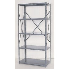 Industrial Clip Open Shelving: Beaded Post Units with 5 Shelf Frames - Starter Unit