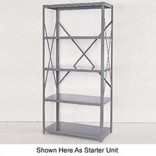 Industrial Clip Open Shelving: Angle Post Units with 4 Shelf Frames; Adder Unit