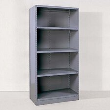 Industrial Clip Closed Shelving: Beaded Post Units with 4 Shelves; Starter Unit