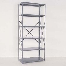 <strong>Republic</strong> Industrial Clip Open Shelving: Beaded Post Units with 6 Shelf Frames; Adder Unit