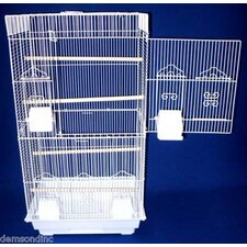 Square Top Small Bird Cage in White