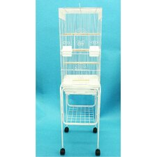 Tall Square 4 Perch Bird Cage with Stand