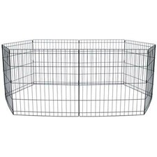 8 Panel Animal Play Pen with Door in Black