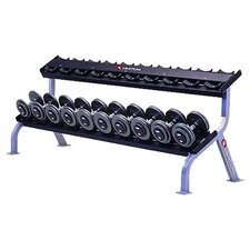 High Impact Commercial 2 Tiered 10 Pair Dumbbell Rack with Plate Storage