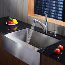"29.75"" x 20.75"" Farmhouse Kitchen Sink with Faucet and Soap Dispenser"