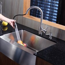 "<strong>Kraus</strong> 29.75"" x 20.75"" Farmhouse Kitchen Sink with Faucet and Soap Dispenser"
