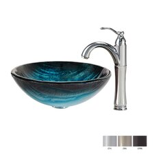 Ladon Glass Vessel Sink with Riviera Faucet