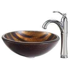Bastet Glass Vessel Sink with Riviera Faucet