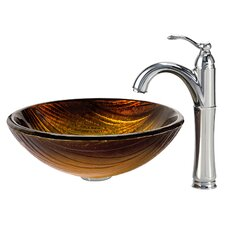 Midas Glass Vessel Sink with Riviera Faucet