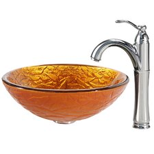 <strong>Kraus</strong> Blaze Glass Vessel Sink with Riviera Faucet