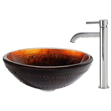 Prometheus Glass Vessel Sink with Ramus Faucet