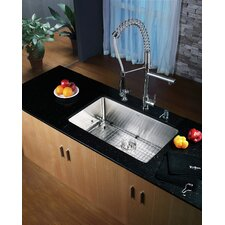 "30"" x 16"" Undermount Single Bowl Kitchen Sink with Faucet and Soap Dispenser"