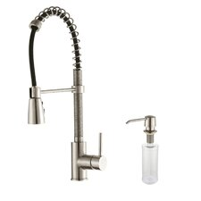 One Handle Single Hole Kitchen Faucet with Soap Dispenser and Pull Out Sprayer