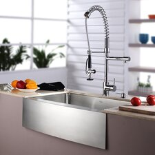 "32.88"" x 20.75"" Farmhouse Kitchen Sink with Faucet and Soap Dispenser"