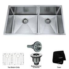 33 inch Undermount 70/30 Double Bowl 16 gauge Stainless Steel Kitchen Sink