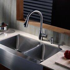 "32.9"" x 20.75"" x 10""  8 Piece Farmhouse Double Bowl Kitchen Sink Set"