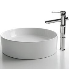 Ceramic Round Bathroom Sink with Bamboo Single Lever Faucet