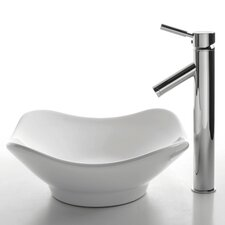<strong>Kraus</strong> Ceramic Tulip Bathroom Sink with Sheven Single Lever Faucet