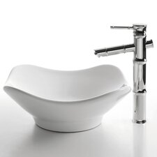 Ceramic Tulip Bathroom Sink with Bamboo Single Lever Faucet