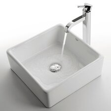 <strong>Kraus</strong> Ceramic Square Bathroom Sink with Ramus Single Lever Faucet