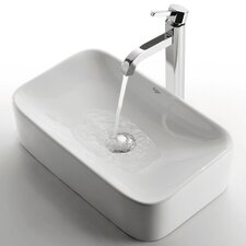 Ceramic Rectangular Bathroom Sink with Ramus Single Lever Faucet