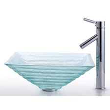Square Alexandrite Glass Sink and Sheven Faucet