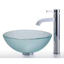 "Frosted 14"" Glass Vessel Sink and Ramus Faucet"