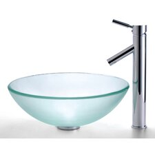 <strong>Kraus</strong> Frosted Glass Vessel Sink and Sheven Faucet