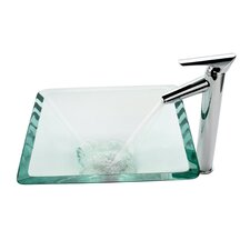 Aquamarine Glass Vessel Sink and Decus Bathroom Faucet in Chrome
