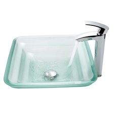 Oceania Glass Vessel Bathroom Sink with Faucet