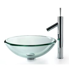 Clear 19mm Thick Glass Vessel Sink and Sheven Faucet