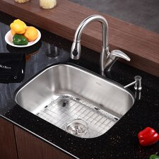 "Stainless Steel 23"" x 17.75"" 16 Gauge Undermount Single Bowl Kitchen Sink"