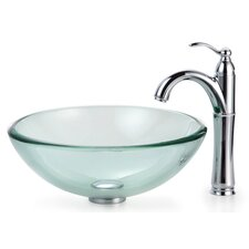 "Clear Glass 0.75"" Thick Vessel Sink and Rivera Faucet"