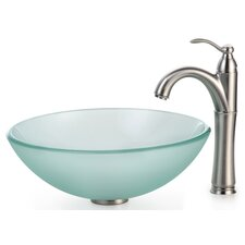 Frosted Glass Vessel Sink and Rivera Faucet