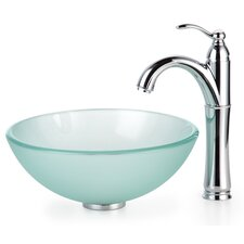 "Frosted 0.5"" Glass Vessel Sink and Rivera Faucet"