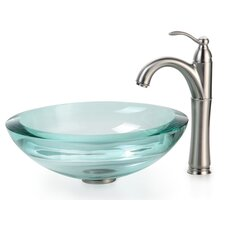 "Clear Glass 0.75"" Vessel Sink and Rivera Faucet"